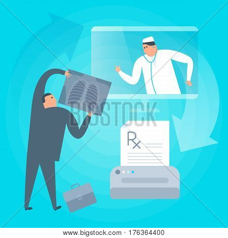 Doctor consults online by computer prints rx prescription. Remote tele medicine flat concept illustration. Patient holding x-ray image of lung radiography. Telemedicine telehealth vector design.