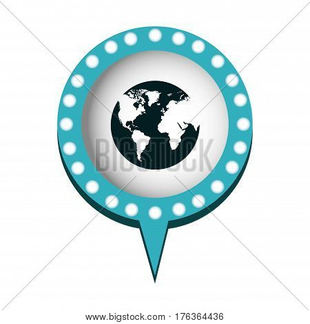 chat bubble with planet inside, vector illustration design