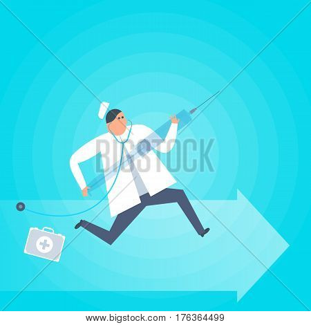 Doctor runs with syringe. First-aid ambulance urgent care flat concept illustration. Medic with vaccine squirt rushing to patient to make injection. Medical health care vector design element.