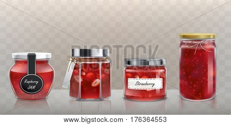 Collection of vector glass jars with raspberry and strawberry jam in a realistic style