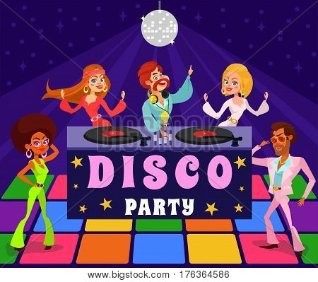 Vector cartoon retro illustration of a man and a woman in a disco club. People dressed in the clothes of the 1960s, 1970s are dancing at a retro party