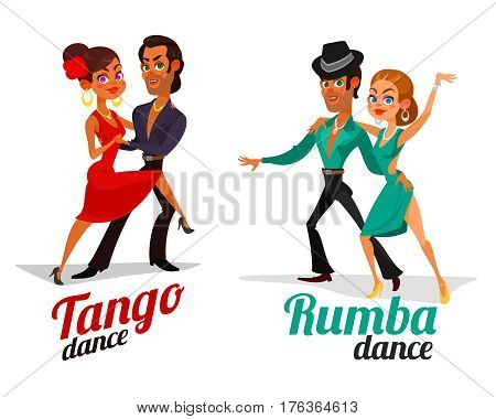 Two vector cartoon illustrations of a couples dancing tango and rumba isolated on white background. Element for the advertising poster of the school of dance, competitions in Latin American dances