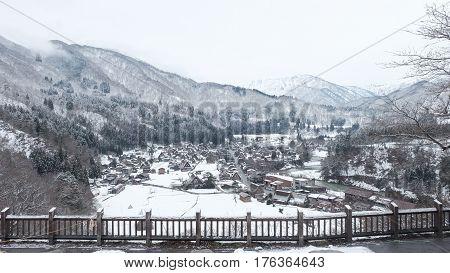 The Bridge Over Shogawa River At Historic Japanese Village Shirakawa-go At Winter, One Of Japan's Un