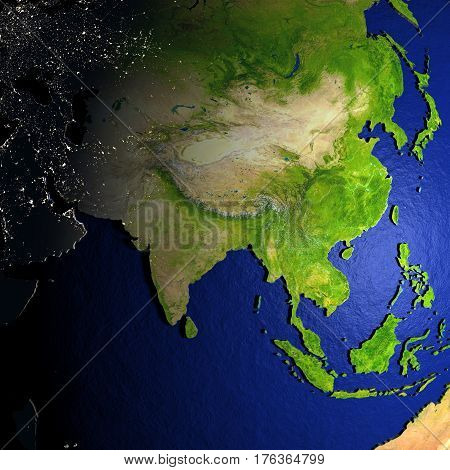 Asia On Model Of Earth With Embossed Land