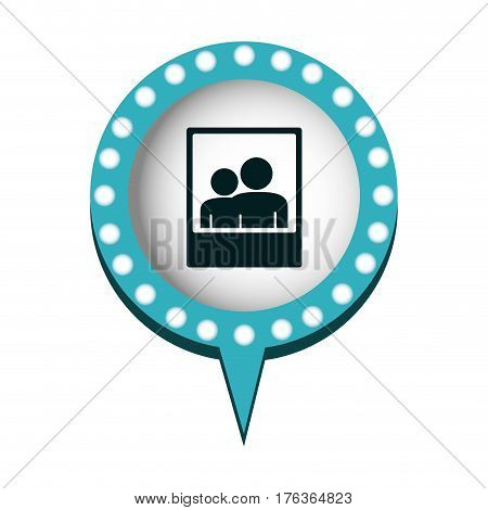 chat bubble with picture inside, vector illustration