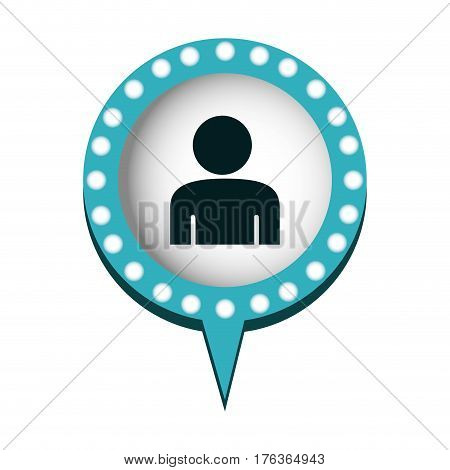 chat bubble with person inside, vector illustration design