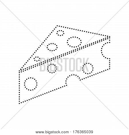 Cheese Maasdam sign. Vector. Black dotted icon on white background. Isolated.