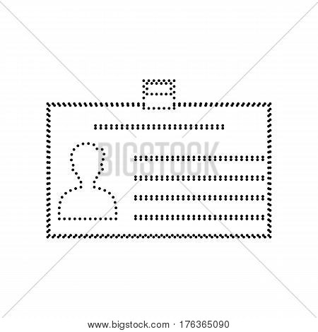 Identification card sign. Vector. Black dotted icon on white background. Isolated.