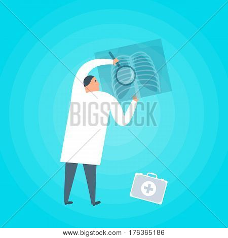 Doctor examines an x-ray. Medicine health care flat concept illustration. Medic holding xray image of lung radiography. Medical healthcare vector design element for web social network presentation