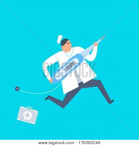Doctor with a thermometer runs to a patient. First aid ambulance urgent care flat concept illustration. Medic and temperature measurement tool. Medicine healthcare treatment vector design element