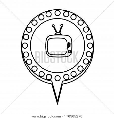 figure chat bubble with television inside, vector illustration design