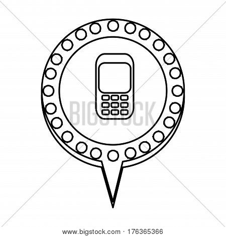 figure chat bubble with cellphone inside, vector illustration design