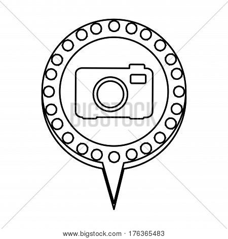 figure chat bubble with camera inside, vector illustration design