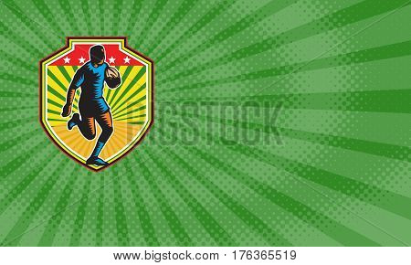 Business card showing Illustration of a rugby player running with the ball facing front set inside shield crest done in retro woodcut style.