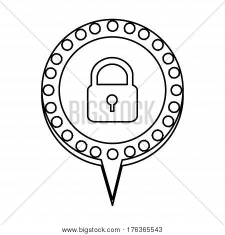 figure chat bubble with padlock icon, vector illustration design