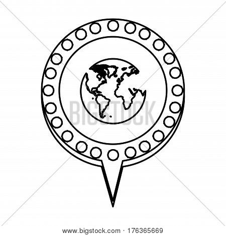 figure chat bubble with planet inside, vector illustration design