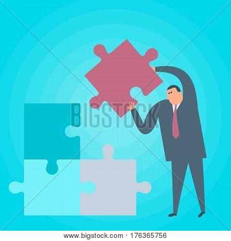 Businessman with puzzle piece. Problem solution flat concept illustration. Man places last part of jigsaw puzzle. Solving purpose achievement business strategy creative work. Vector design element.