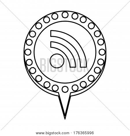 figure chat bubble with wifi symbol inside, vector illustration