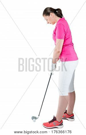 Brunette Golfer In Full Length Plays Golf On A White Background