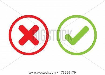 Tick cross wrong vector icon design .