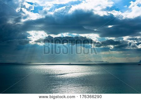 Samui island when sun shining through the clouds. Koh Samui Thailand