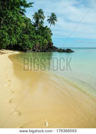 Sandy beach along Lavena Coastal Walk on Taveuni Island Fiji. Taveuni is the third largest island in Fiji.
