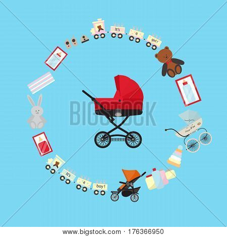 Baby store banner with child carriage vector illustration. Kids market retail poster in flat design. Stroller, baby care product, accessories for newborn, boy and girl toys, children bottle isolated.