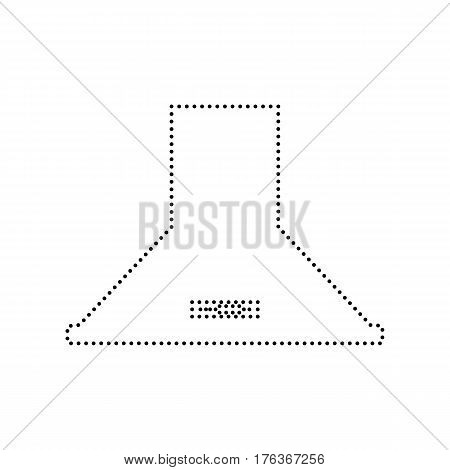 Exhaust hood. Kitchen ventilation sign. Vector. Black dotted icon on white background. Isolated.