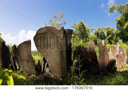 Ancient megalithic stones at Old Wogo -- traditional indonesian village, Flores Island, Indonesia