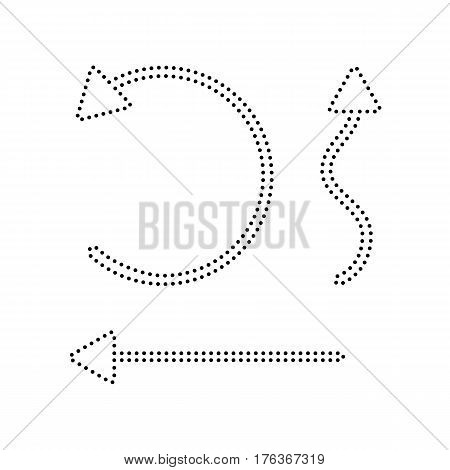 Simple set to Interface Arrows Vector. Black dotted icon on white background. Isolated.