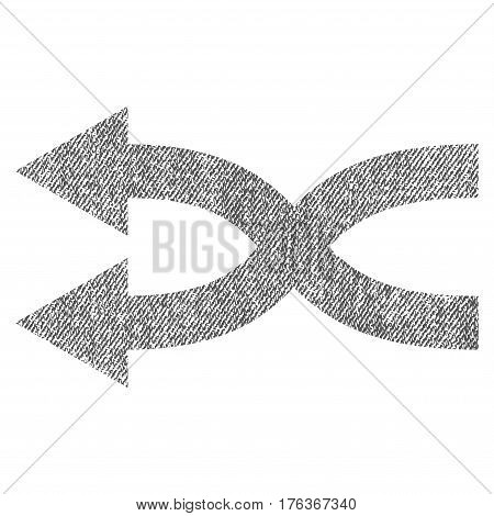 Shuffle Arrows Left vector textured icon for overlay watermark stamps. Fabric gray vectorized texture. Symbol with dirty design. Rubber seal stamp with fiber textile structure.