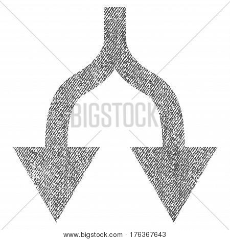 Split Arrows Down vector textured icon for overlay watermark stamps. Fabric gray vectorized texture. Symbol with scratched design. Rubber seal stamp with fiber textile structure.