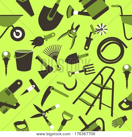 seamless pattern Set of icons of garden tools work equipment Design element for advertisment