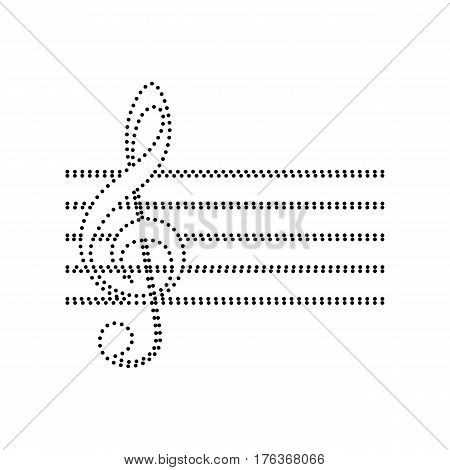 Music violin clef sign. G-clef. Vector. Black dotted icon on white background. Isolated.