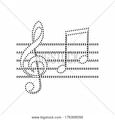 Music violin clef sign. G-clef and notes G, H. Vector. Black dotted icon on white background. Isolated.