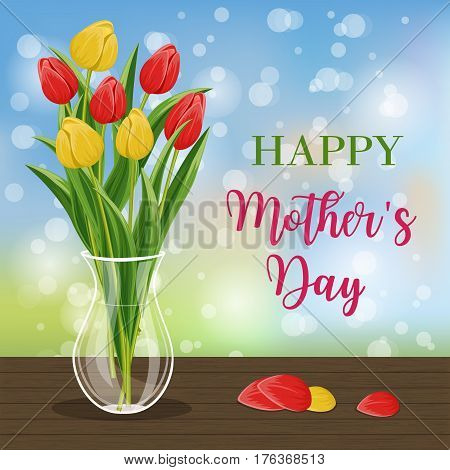 Happy mothers day greeting card with bouquet of blooming tulip flower vector illustration. Floral decorated spring design for woman holiday, love celebration, female feast congratulation template
