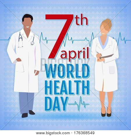 World health day concept with doctors and stylish text on blue background. Health day flat style vector illustration.