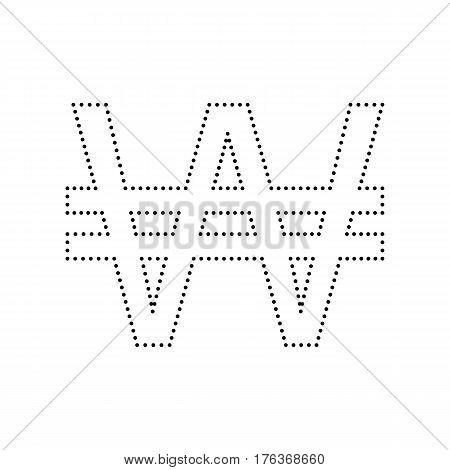 Won sign. Vector. Black dotted icon on white background. Isolated.