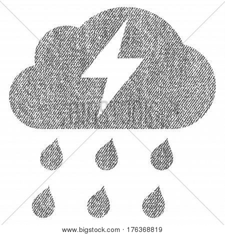 Thunderstorm vector textured icon for overlay watermark stamps. Fabric gray vectorized texture. Symbol with dirty design. Rubber seal stamp with fiber textile structure.