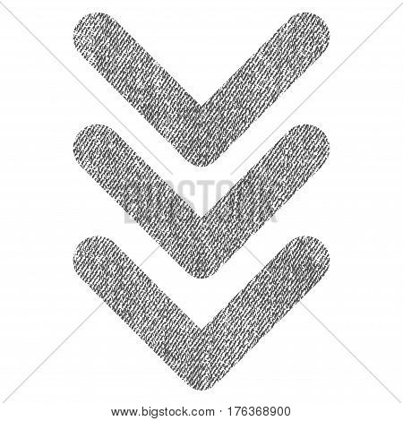 Triple Arrowhead Down vector textured icon for overlay watermark stamps. Fabric gray vectorized texture. Symbol with scratched design. Rubber seal stamp with fiber textile structure.