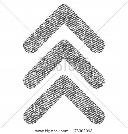 Triple Arrowhead Up vector textured icon for overlay watermark stamps. Fabric gray vectorized texture. Symbol with dirty design. Rubber seal stamp with fiber textile structure.