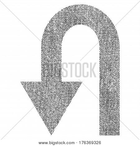 Turn Back vector textured icon for overlay watermark stamps. Fabric gray vectorized texture. Symbol with unclean design. Rubber seal stamp with fiber textile structure.
