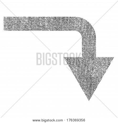 Turn Down vector textured icon for overlay watermark stamps. Fabric gray vectorized texture. Symbol with scratched design. Rubber seal stamp with fiber textile structure.