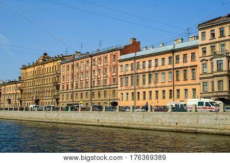 Saint-Petersburg Russia - May 13 2006: Profitable houses on Fontanka River Embankment