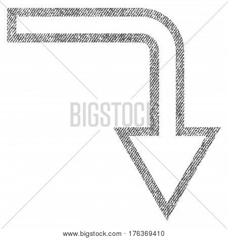 Turn Down vector textured icon for overlay watermark stamps. Fabric gray vectorized texture. Symbol with dust design. Rubber seal stamp with fiber textile structure.
