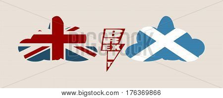 Image relative to politic situation between great britain and Scotland. Politic process named as brexit