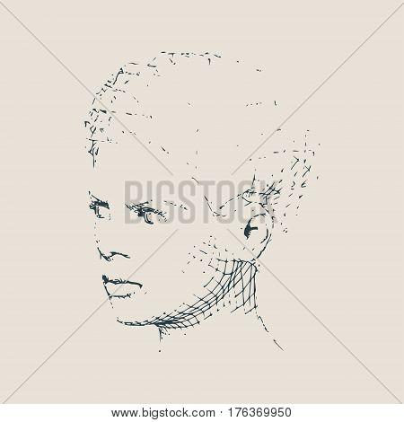 Face profile view. Elegant silhouette of a female head. Vector Illustration. Short hair. Monochrome gamma.