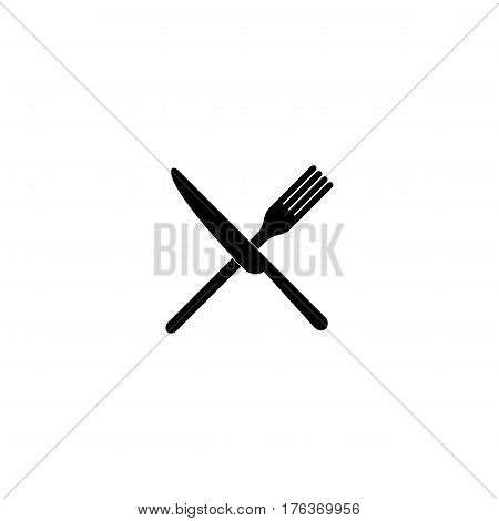 crossed fork over knife - white vector icon