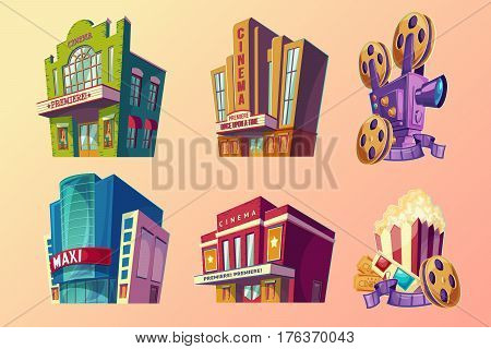 Set of vector isometric illustration of buildings ancient and modern cinema, film projector, popcorn in cartoon style