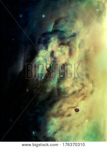 Space scene. Green and yellow nebula with small planet. Elements furnished to NASA.